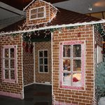 Huge gingerbread house in the lobby and entrance to the bar/lounge