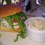 shrimp salad sandwich and macaroni salad