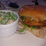 crabcake sandwich with peas and cheddar cheese