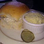 chicken salad sandwich with potato salad