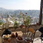 View of Goreme at breakfast from hotel restaurant