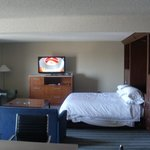 Hospitality suite in daytime with murphy bed revealed