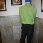 Mannequin in the ladies room for Halloween as you walk in. :)