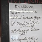 Lunch menu, Bench-to-Go