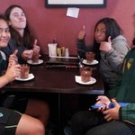 The girls enjoying the chocolate cups