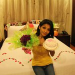 Smile on her face with surprises from Hotel