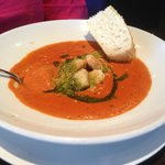 Creamy tomato bisque garnished with pesto...a real treat.