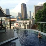 The rooftop deck, pool and spa