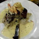 Surf and turf on a bed of pepper mash, delish!