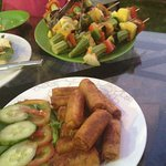 Skewers and spring rolls