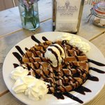 Classic waffle made to order with a scoop of gelato.