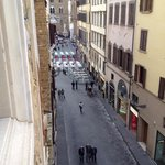 View of the street below - from the 4th level : Restaurants/Statues galore!