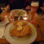 Wiener Schnitzel with a tasty wheat beer