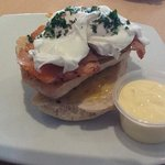 my salmon egg benedict with hollander sauce.
