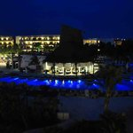 Nightime view of Oceana restaurant and the pool