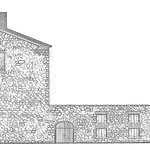 A drawing of the stone wall on the north side - Noble Suites