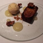 Pear financier with coco nib ice cream