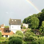 An evening rainbow over the gardens