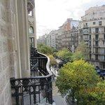 Looking  down  the  Rambla  de Catalunys  from  the  balcony  of Room 205