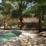 La piscine et une case