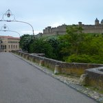 Pedestrian bridge to the walled city fortress
