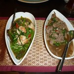Morning Glory with Prawns on the left and Phud Ka Prow with Beef on the right.