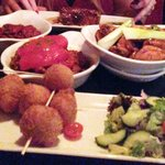 Chilli beef, croquettes, chicken wings, chorizo and meat balls.