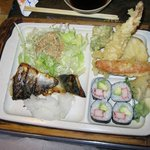 Bento Lunch A with Saba Shioyaki, Tempura and California Roll