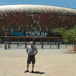 In front of the stadium.