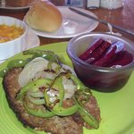 meatloaf, beets, macaroni and cheese