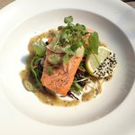 Steamed salmon on turtle bean and sugar snap pea salad