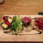 It's bruschetta Jim, but not as we know it. Excellent starter, with a selection of interesting f