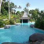 View of pool and swim up bar.