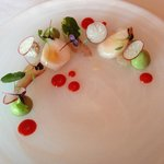 Tequila and Citrus Cured Kingfish, Scallop Ceviche, Avocado, Crab Mayonnaise, Pimento, Taro Chip