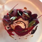 Seared Kangaroo, Textures of Beetroot, Chocolate oil and Black pudding.