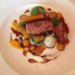 Seared Duck Breast, Red Cabbage, Butternut Squash,  Brussel sprouts Mandarin and Licorice (Serve