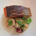 Crispy Skinned Petuna Ocean Trout, Chorizo, Banana Prawns, Pickled Octopus  and Fennel with Jamo