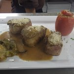 pork medallions with mustard seed.