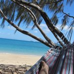 Me enjoying the beautiful peaceful beach - just me and a hammock