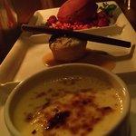 creme brulee, banana and chocolate cake, raspberry sorbet