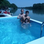 enjoying the pool on board riverboat