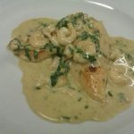 Salmon with baby prawns in a creamy sause
