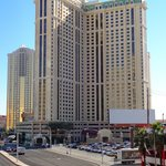 view of the hotel from the strip