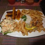 Conch Lambi with french fries & rice