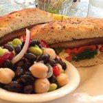 portobello sandwich with four bean salad