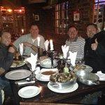 Having dinner with the boys.