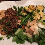 Chicken Marsala with Cesar salad and fresh vegetable