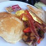 american breakfast, $9