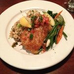 Asiago crusted cod with scallop risotto