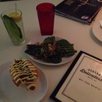 Green Grocer cocktail, (red glass is just water) Hot Dog, Asparagus Salad